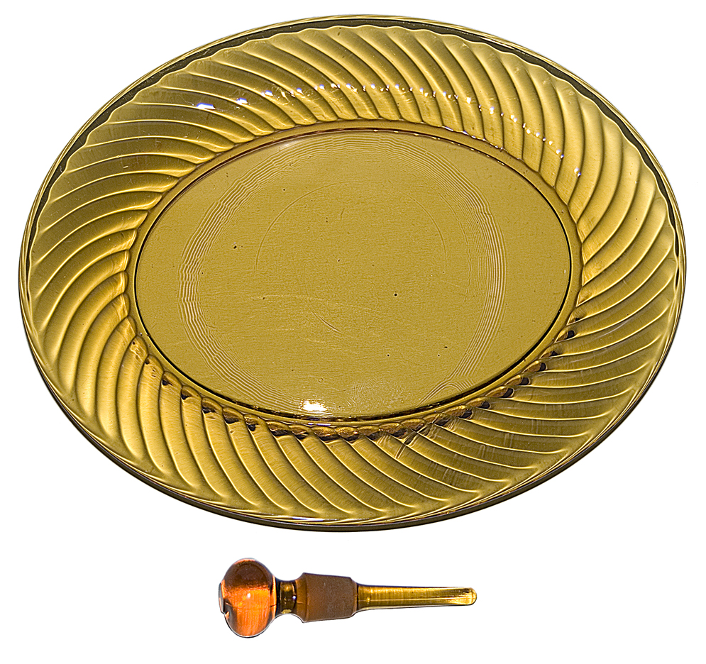 Imperial Amber Twisted Optic Vanity Set Tray and Dauber