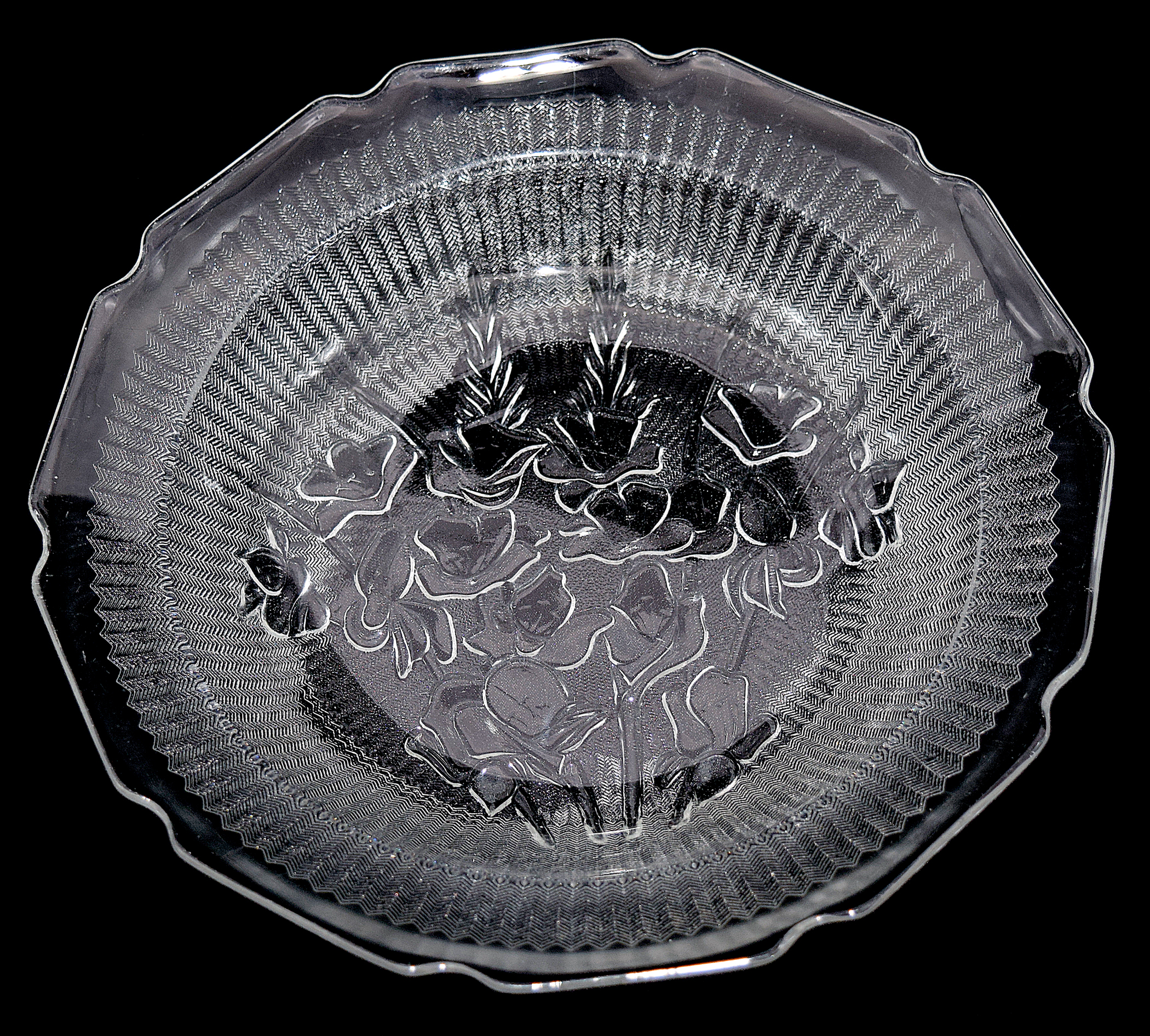 Jeannette Crystal Iris Flat Soup Bowl Front