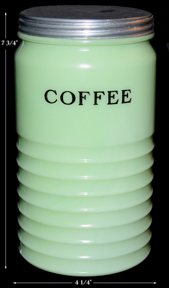 Jeannette Jadite Light Ribbed Coffee Canister