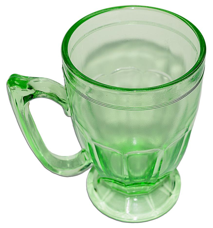 Jeannette Green Kitchen Glass Mug LOOKING DOWN