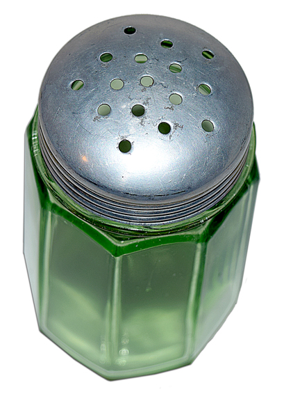 PADEN CITY GREEN DEPRESSION GLASS KITCHEN SUGAR SHAKER The Top