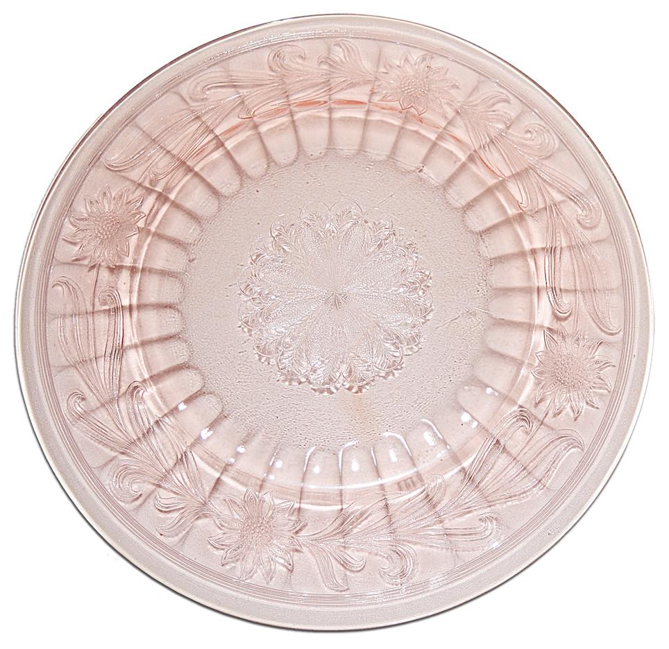 Jeannette Pink Sunflower Dinner Plate - The Back