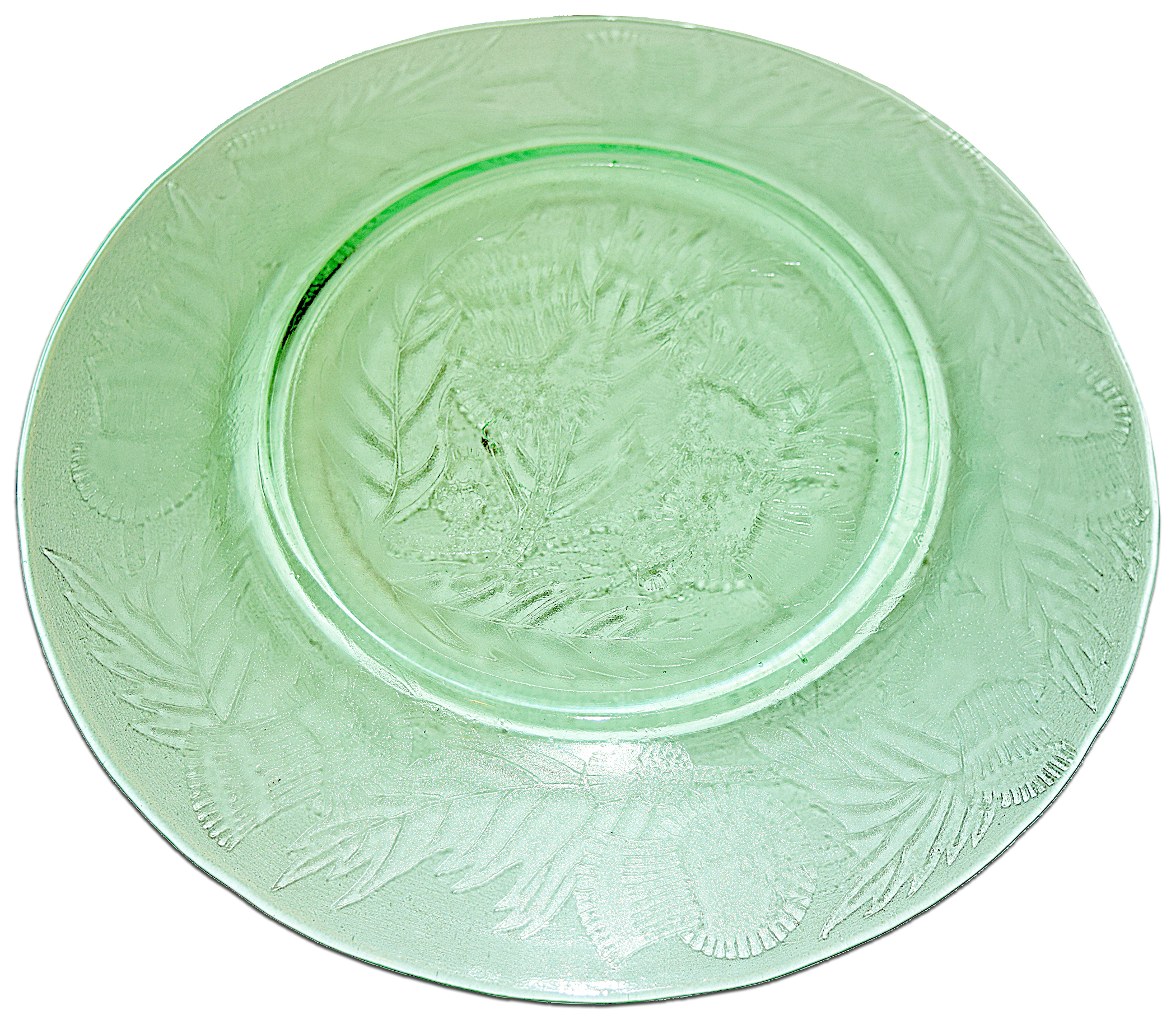Macbeth Evans Green Thistle Luncheon Plate Back