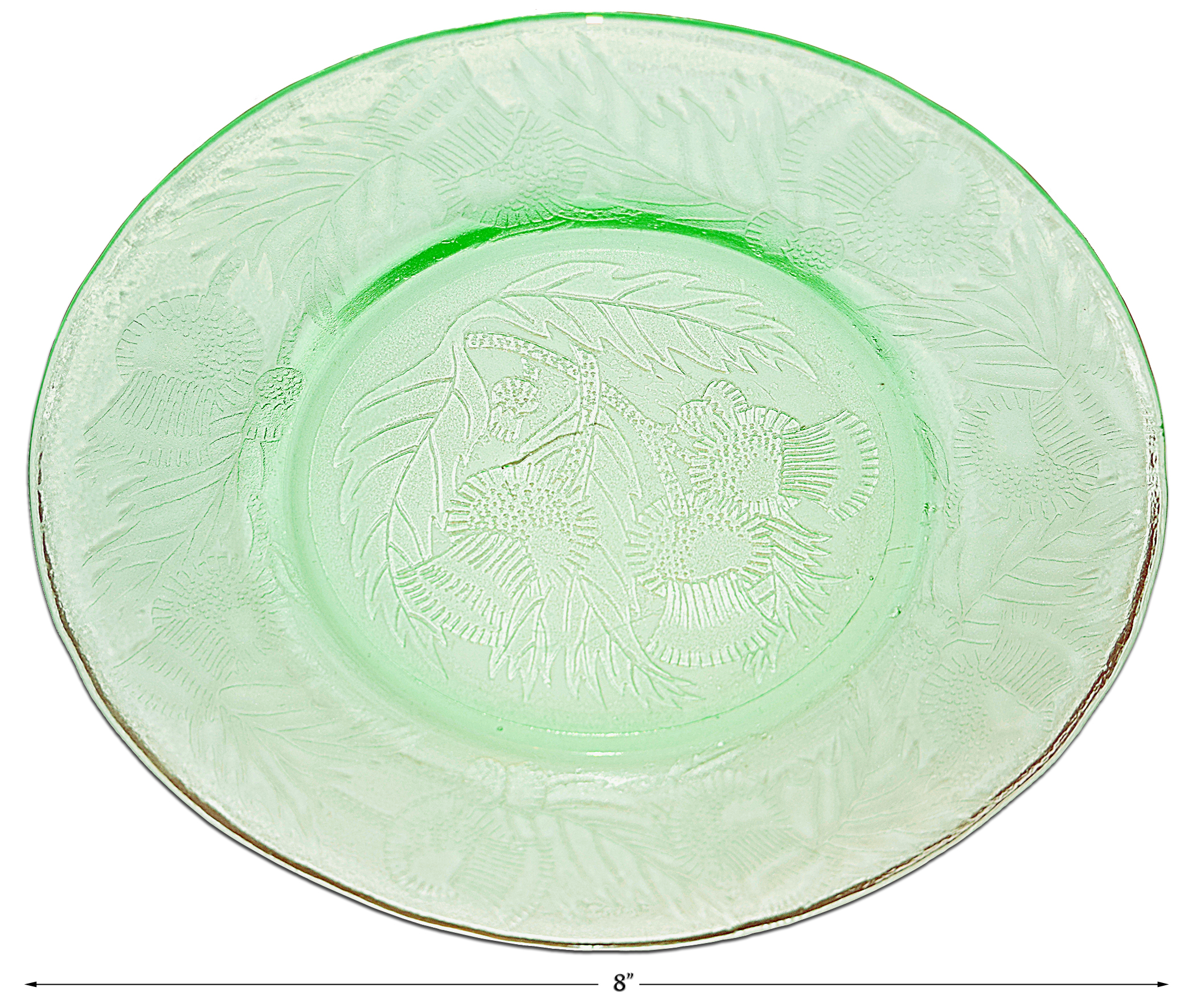 Macbeth Evans Green Thistle Luncheon Plate