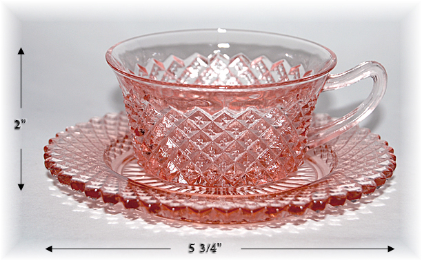 Hocking Pink Miss America Cup and Saucer