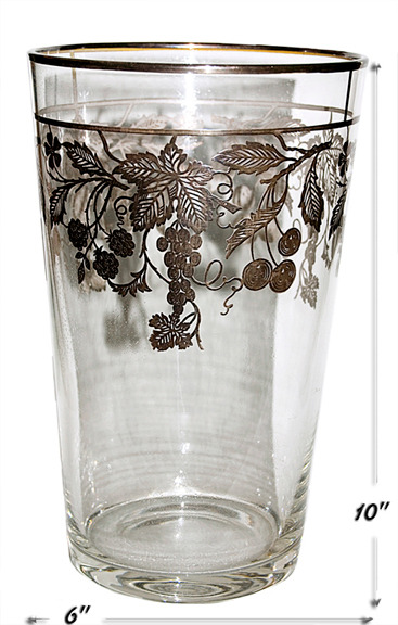 National Silver Deposit Fruits Crystal Flip Vase