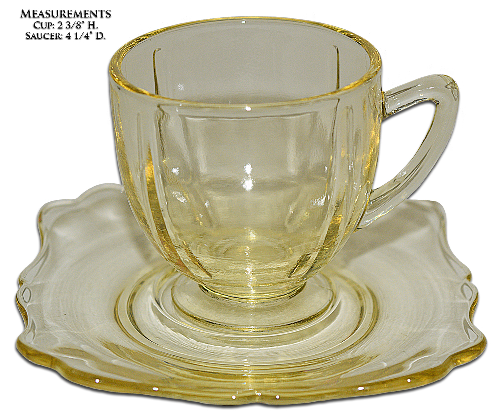 New Martinsville Fancy Square Cup and Saucer
