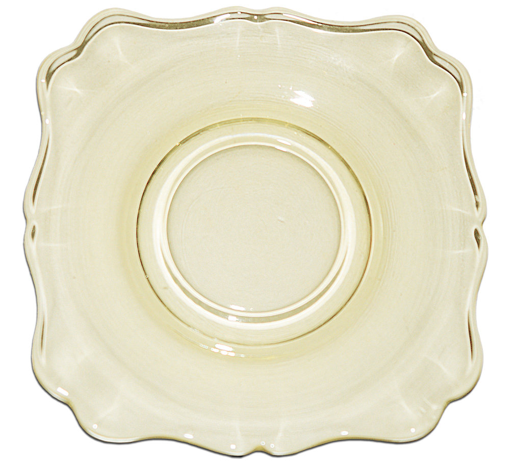 New Martinsville Fancy Square Saucer Back