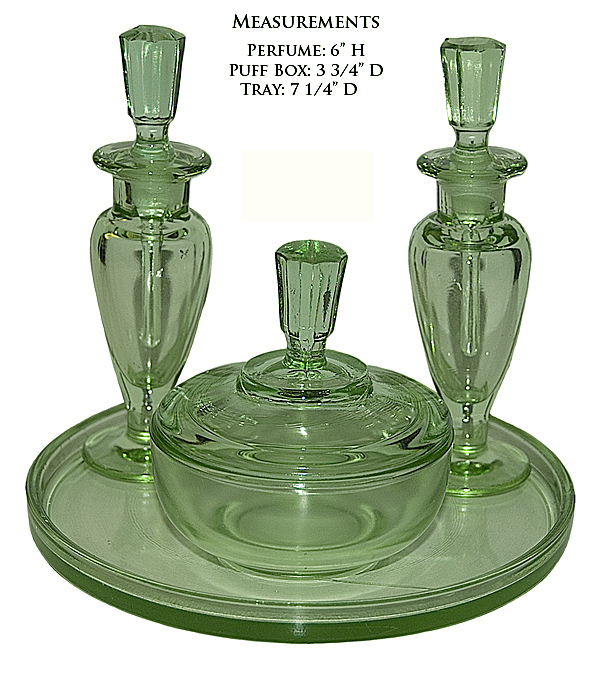 New Martinsville Taper Green Vanity Set with Round Tray
