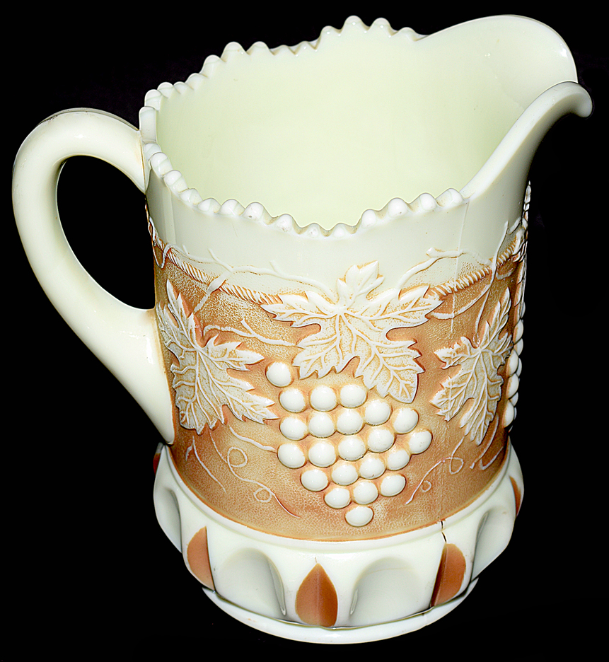 Northwood Custard Nutmeg Grape and Cable Pitcher TOS