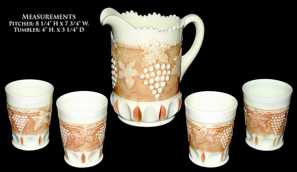 Northwood Custard Nutmeg Grape and Cable Pitcher and Tumblers