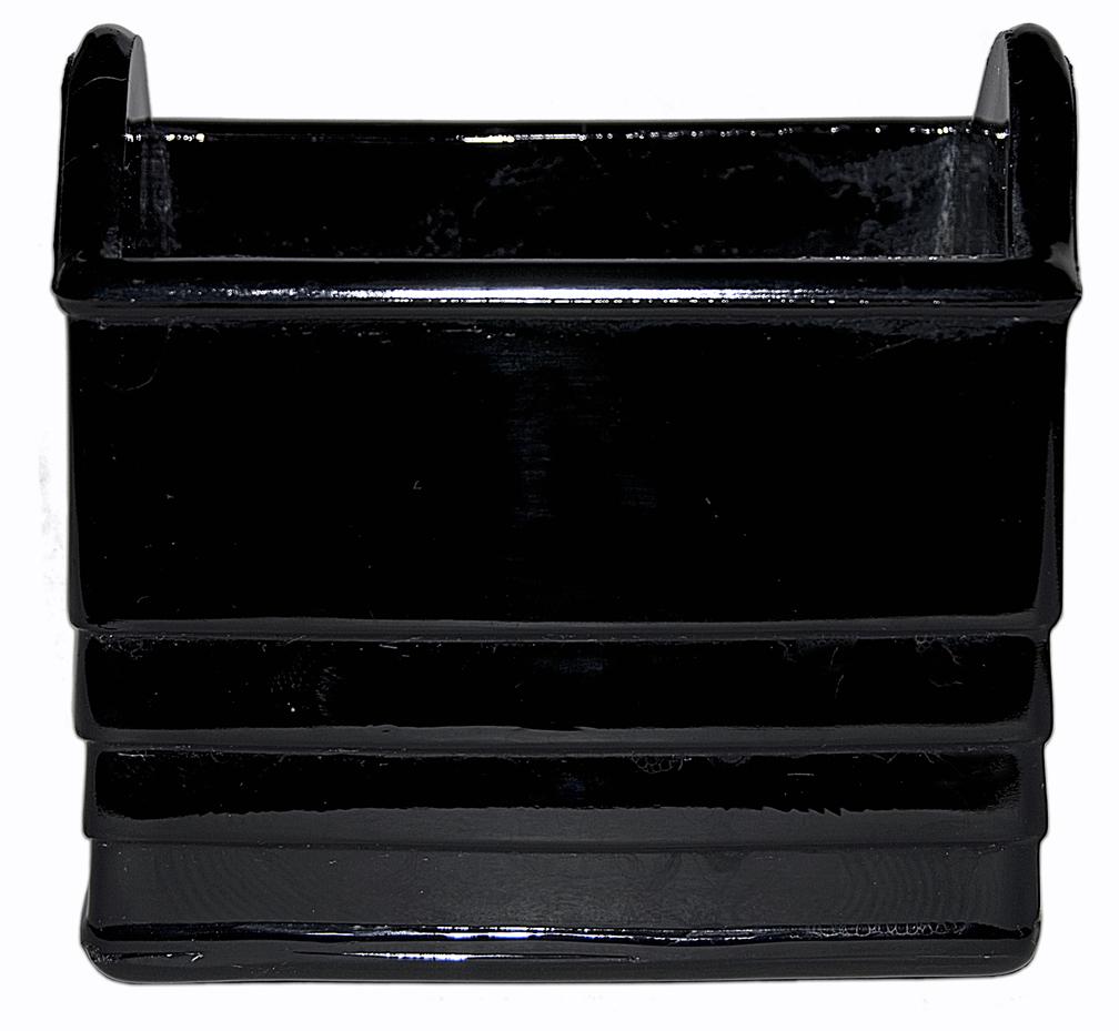 Paden City Black Glass Napkin Holder The Other Side