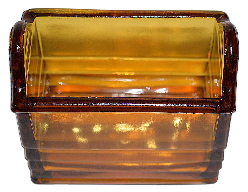 Paden City Amber Napkin Holder Looking Down