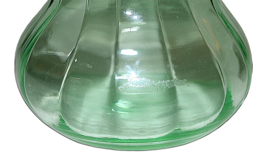 Paden City Vintager Green Vase Acid Area