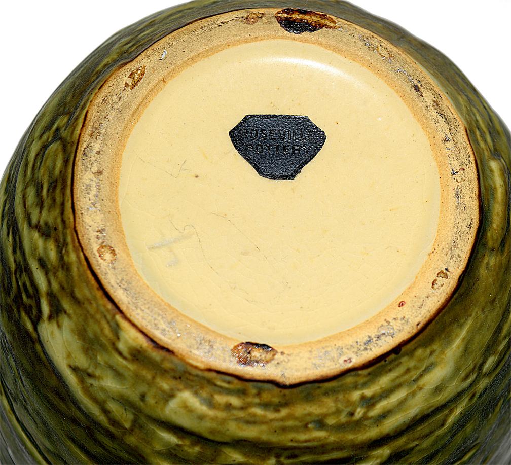 """Roseville Blackberry 8"""" Vase Bottom- Original Label"""
