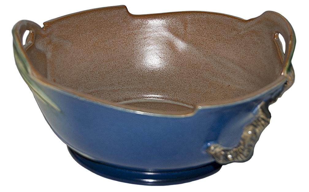 Roseville Pinecone BLue Handled Bowl The Back