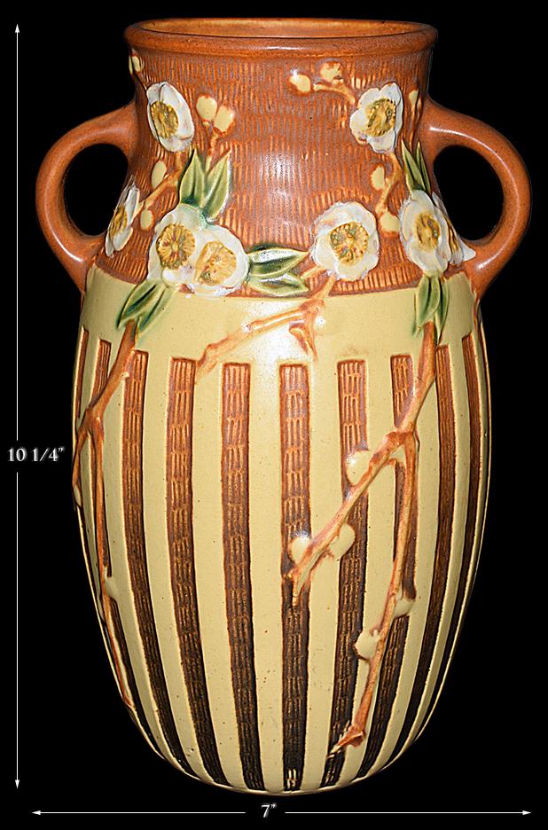 "Roseville Cherry Blossom Brown with Tan Lattice 10"" Vase"