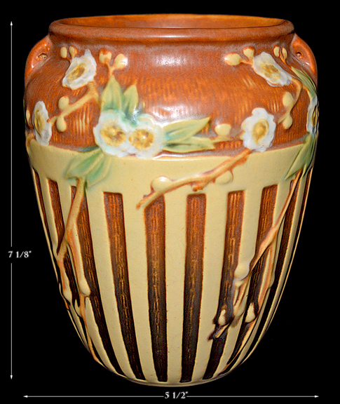 Roseville Cherry Blossom Brown with Cream Vase
