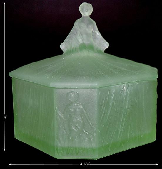 Roxana Green Satin Powder Jar