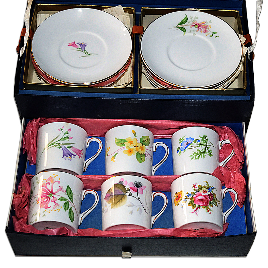 Shelley Boxed Set of Mocha Cup and Saucers Another View