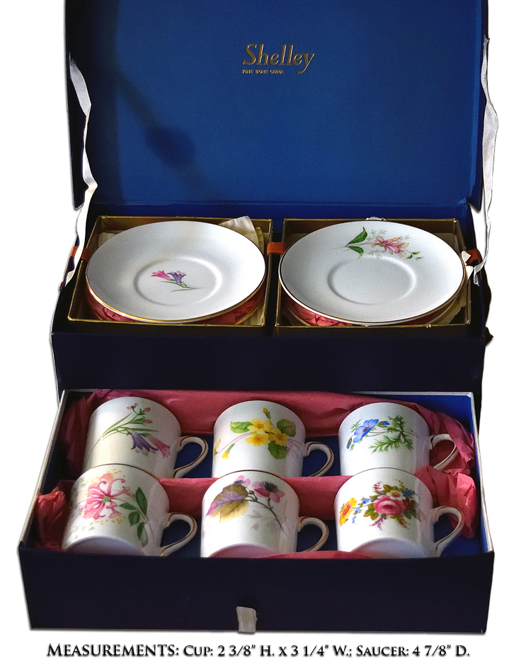 Shelley Boxed Set of Mocha Cup and Saucers