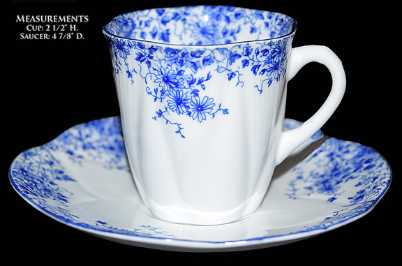 Shelley Dainty Blue Demitasse Cup and Saucer