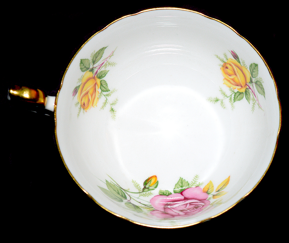 Shelley Yellow and Pink Roses Cup Inside