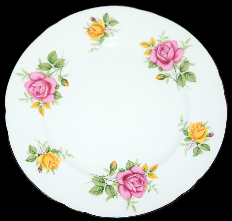 Shelley Yellow and Blue Roses Trio Plate