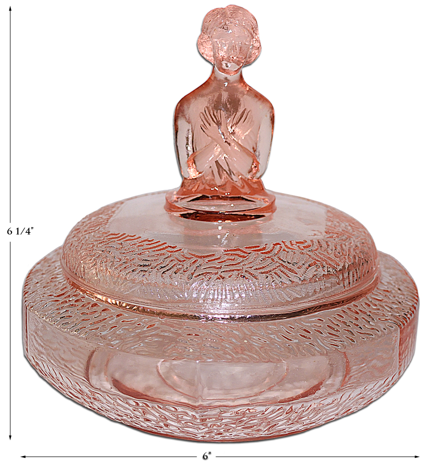 L.E. Smith Gretchen Pink Transparent Powder Jar