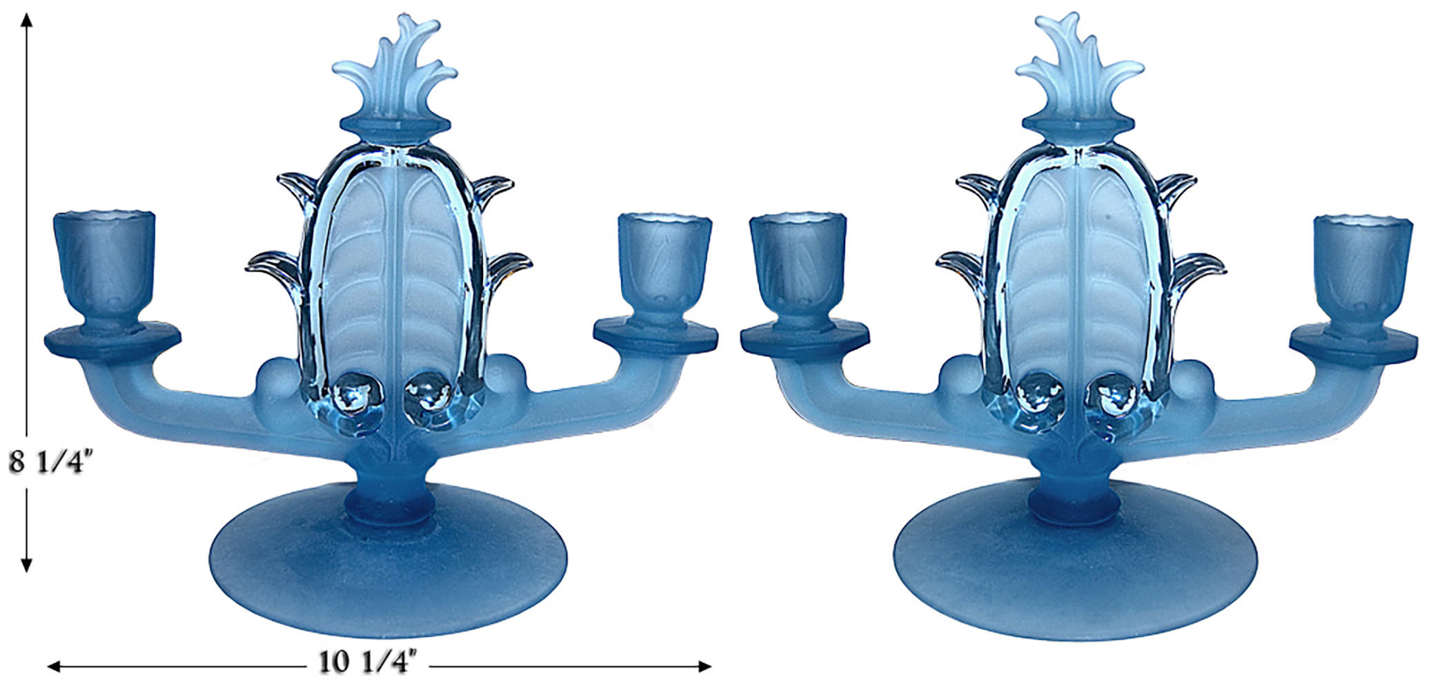 Fenton Velva Frosty Blue Candlesticks