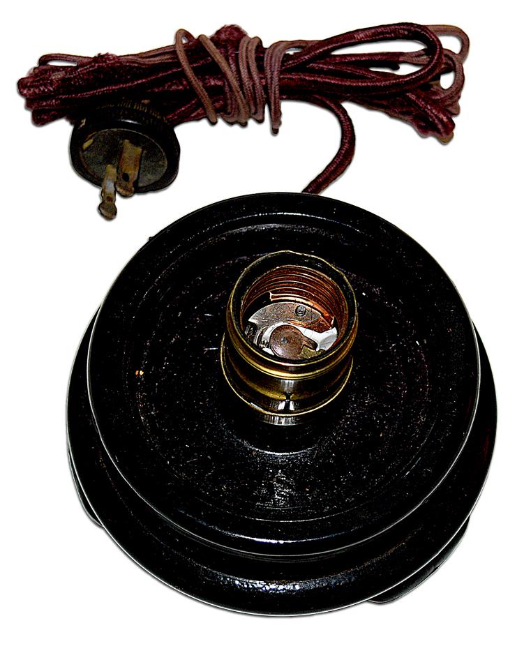 Tiffin Black Glass Lamp Base Bottom