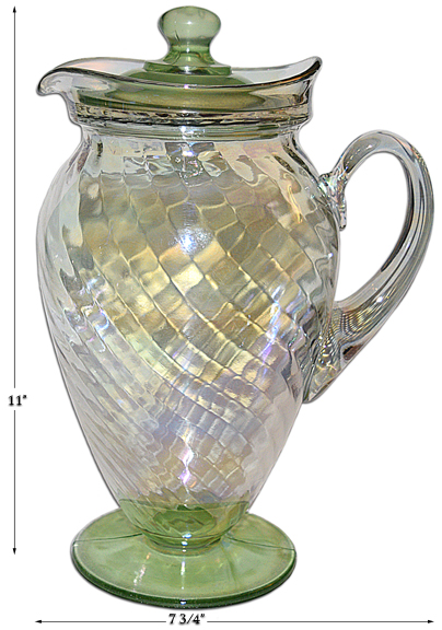 Tiffin Iriidescent Spiral Optic Jug with Lid