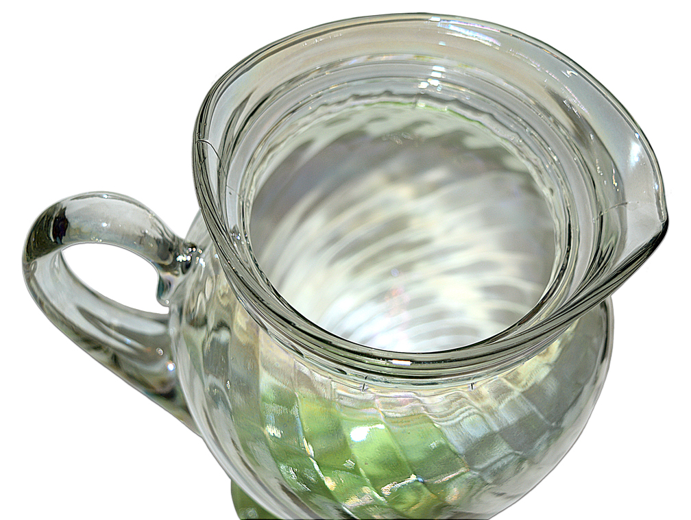 Tiffin Iriidescent Spiral Optic Jug with Lid Looking Down