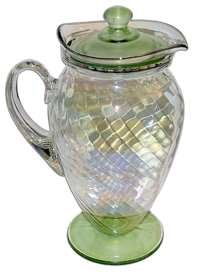 Tiffin Iriidescent Spiral Optic Jug with Lid The Other Side