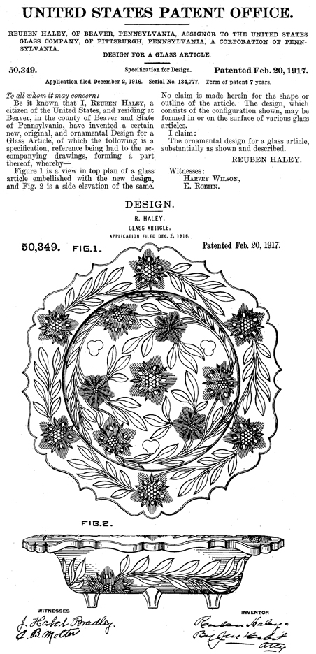 US Glass Pressed Bowl Patent