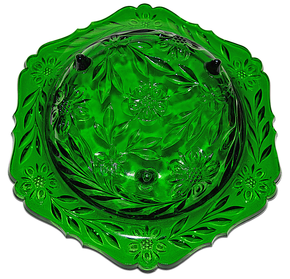 US Emerald Green Glass Footed Console Bowl The Bottom