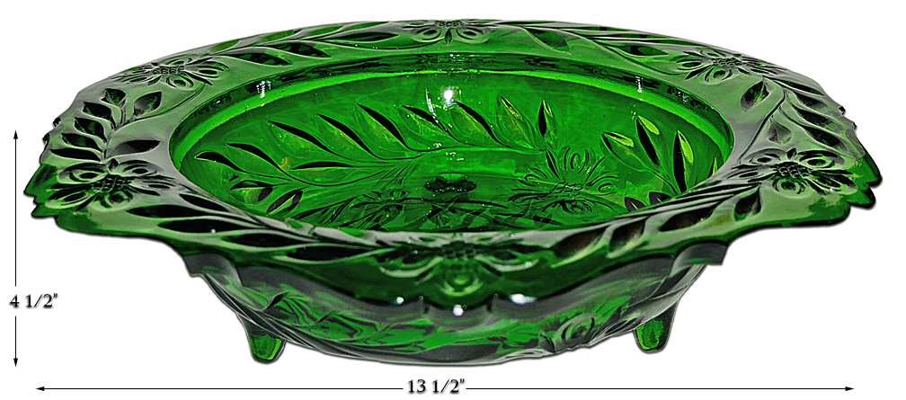US Emerald Green Glass Footed Console Bowl