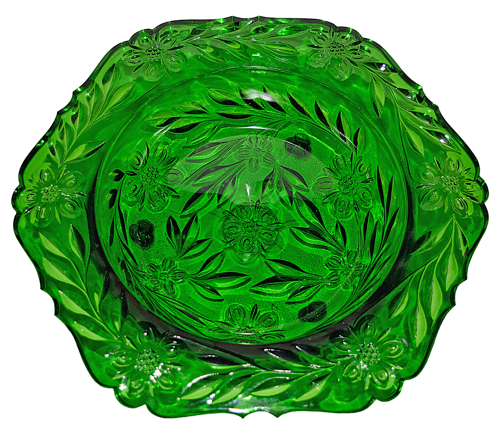 US Emerald Green Glass Footed Console Bowl The Front