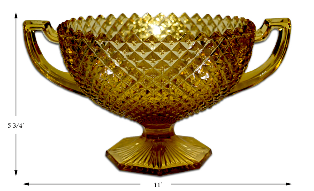 English Hobnail Amber Handled Compote / Bowl